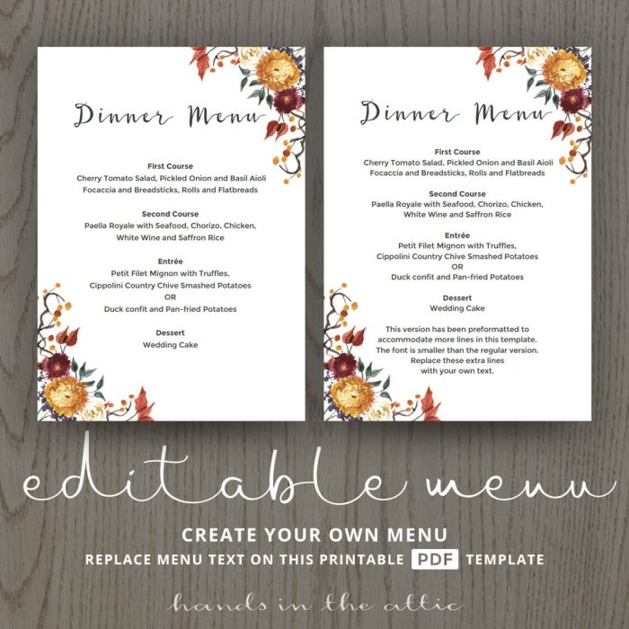 Fall Wedding Dinner Menu Template
