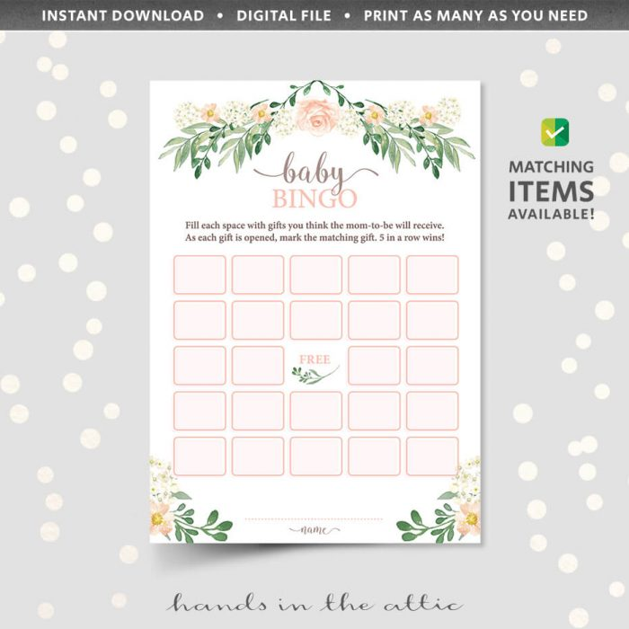 Floral Baby Shower Baby Bingo Game Printable
