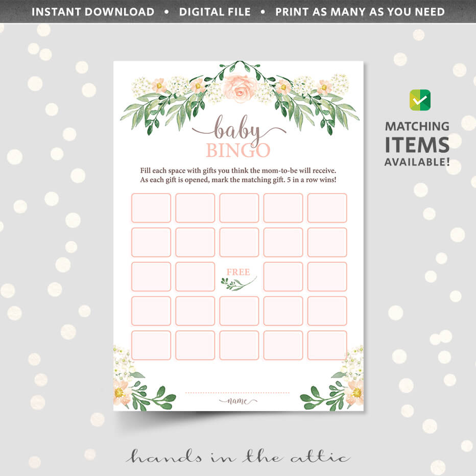 Floral Baby Shower Bingo Game Printable