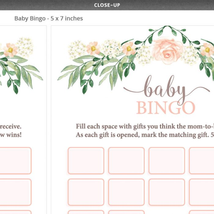 Floral Baby Shower Baby Bingo Game Template