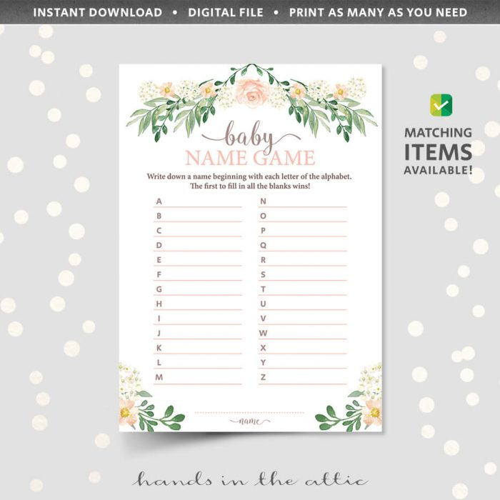 Floral Baby Shower Baby Name Game Printable