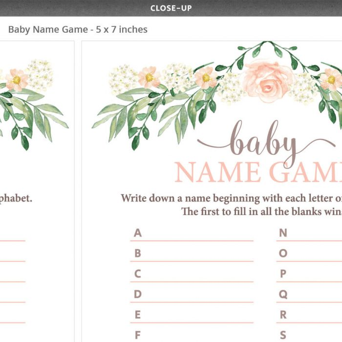 Floral Baby Shower Baby Name Race Game
