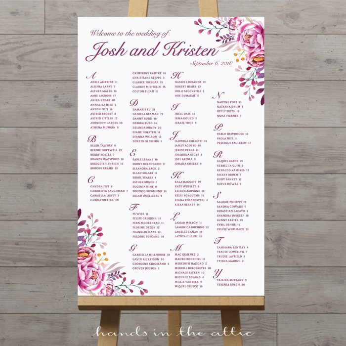 Vertical Table Seating Chart Printable Stationery Weddings