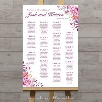 Floral Wedding Seating Chart by Table Number