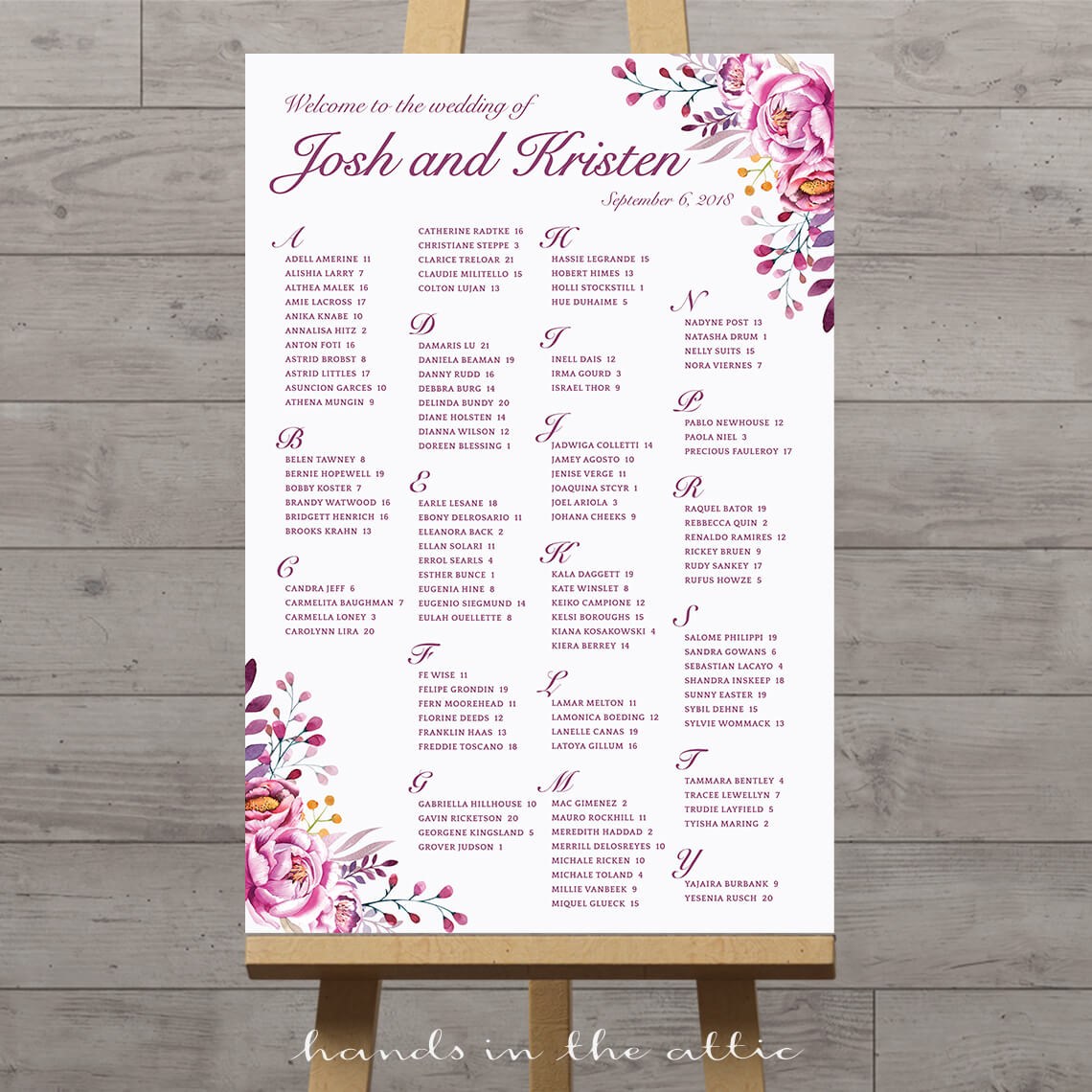 Floral wedding seating chart printable stationery weddings