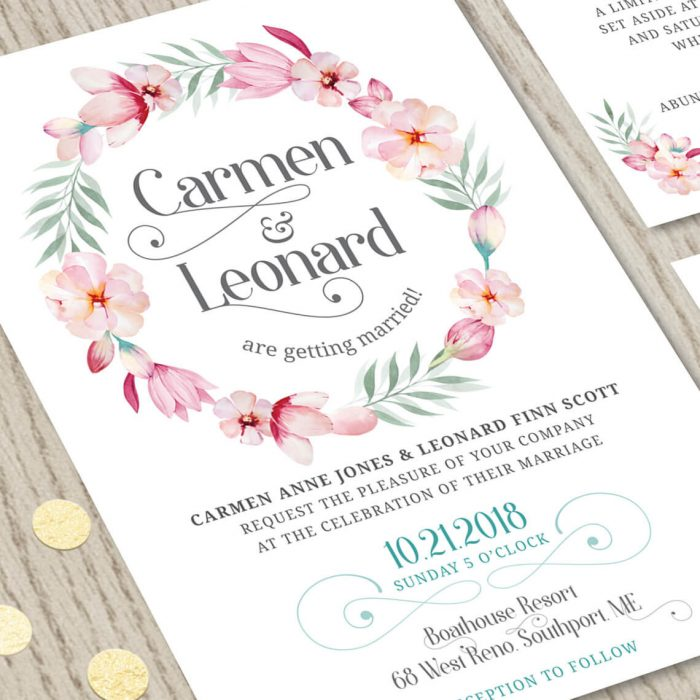 Close-up of Pink Floral Wedding Invitation