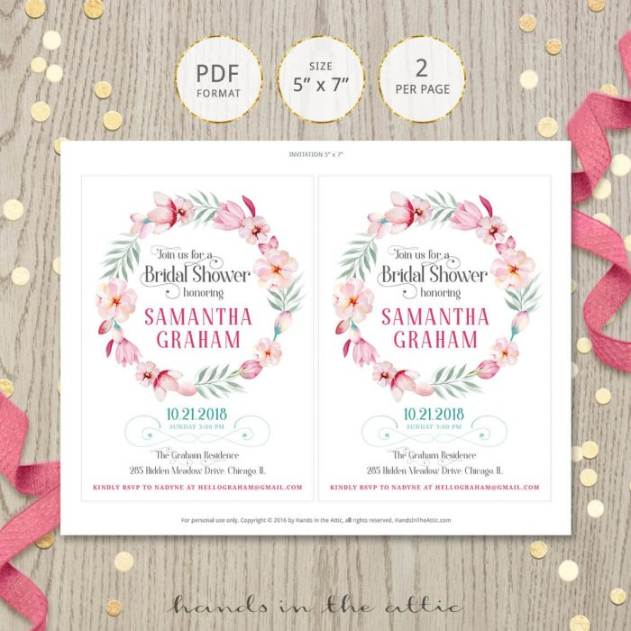 Image for Pink Floral Bridal Shower Invitation