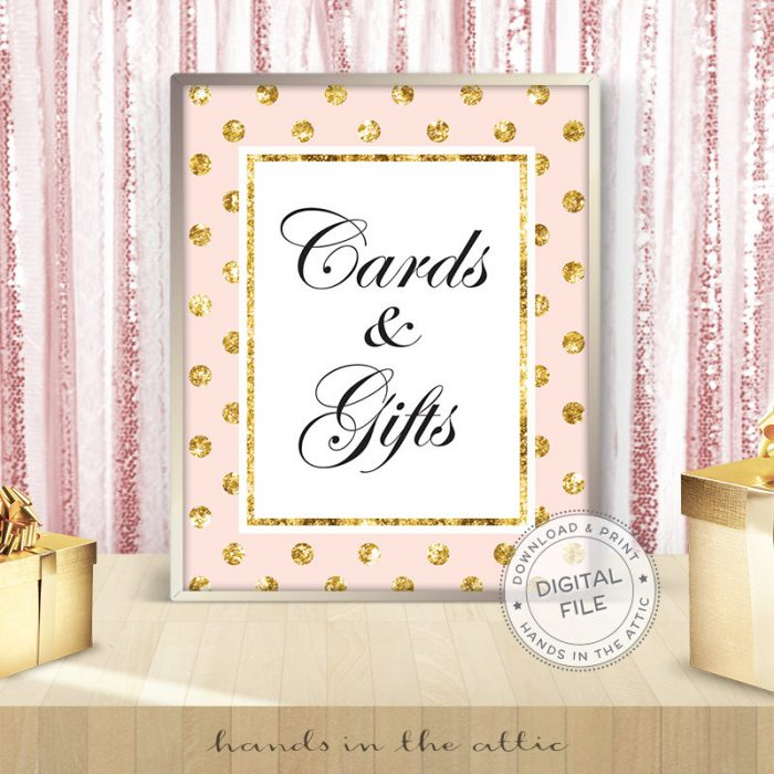 Image for Cards & Gifts Sign | Pink & Gold Printable