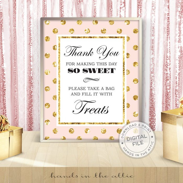 Image for Treats Bag Thank You | Pink & Gold Bridal Shower Sign