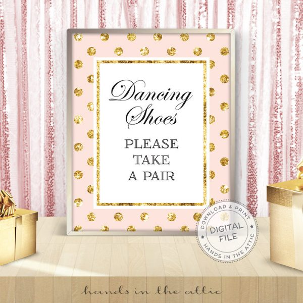 Image for Dancing Shoes Please Take One | Pink & Gold Wedding Sign