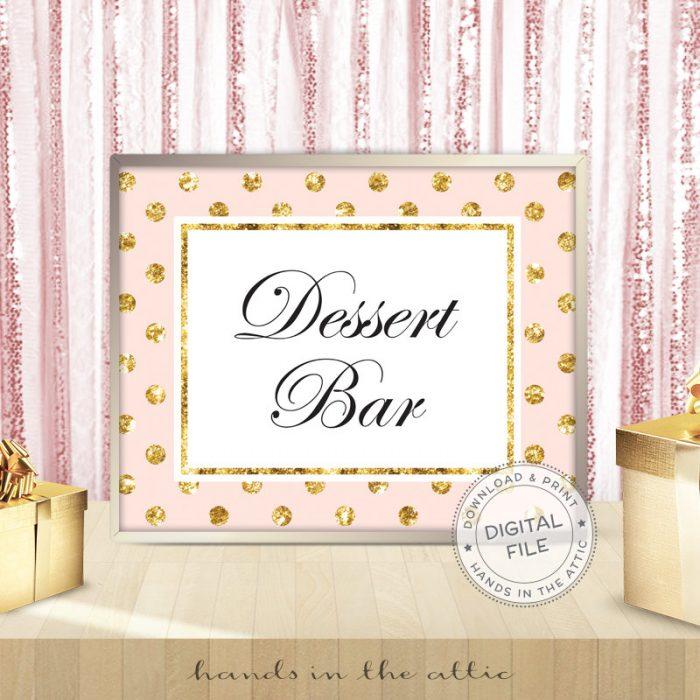 Image for Dessert Bar | Pink & Gold Wedding Sign
