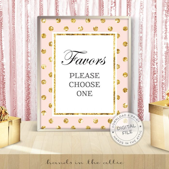 Image for Favors Please Choose One | Pink & Gold Wedding Sign