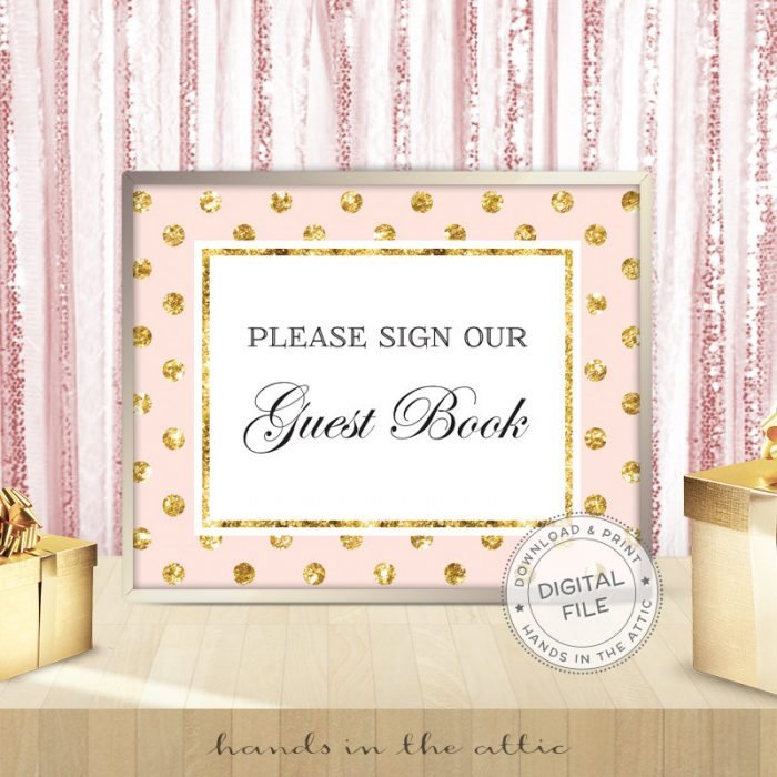 Image for Please Sign Our Guest Book | Pink & Gold Wedding Sign