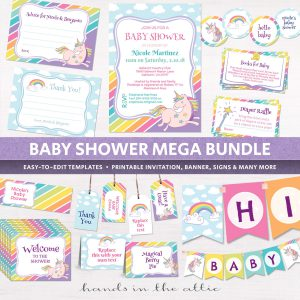Image for Unicorn & Rainbows Baby Shower Package