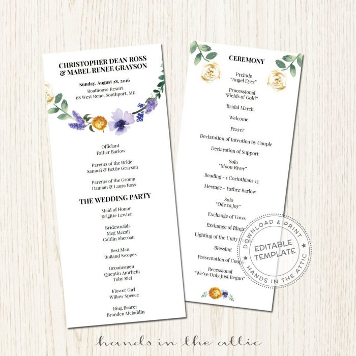 Image for Lavender Floral Wedding Program