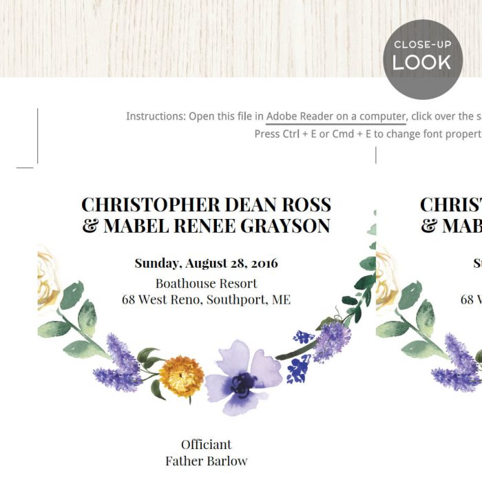 Image for Lavender Floral Wedding Program