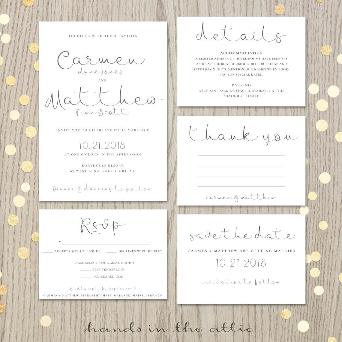 Modern Calligraphy Wedding Invitation Suite | Printable Stationery ...