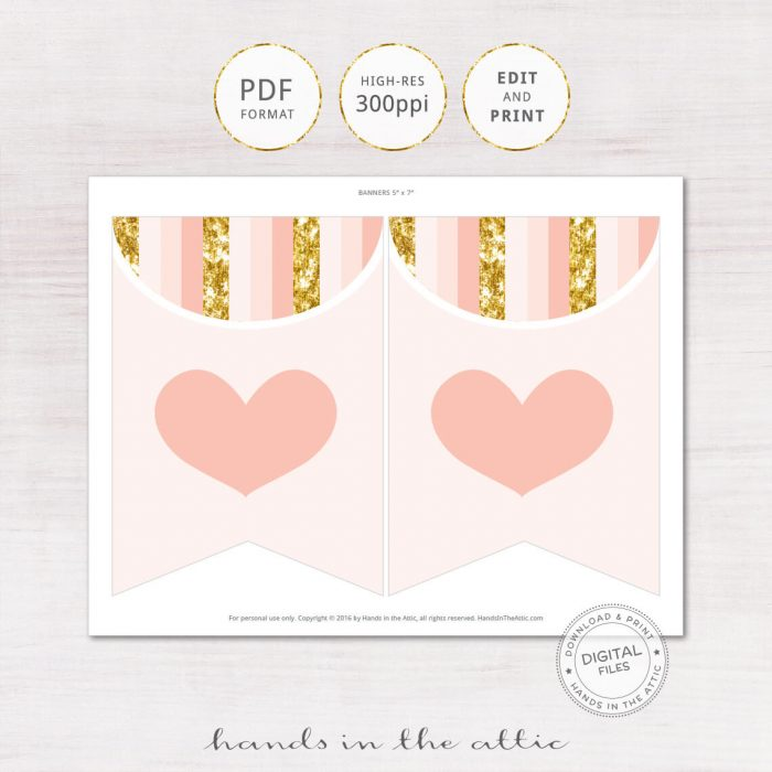 Image for Peach & Gold Alphabet Party Banner