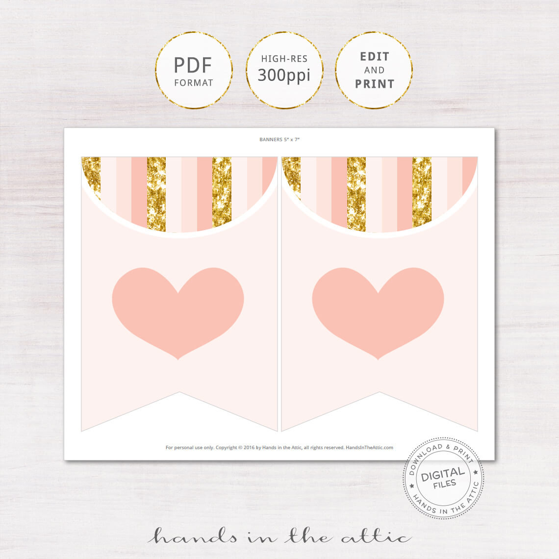 Peach Gold Party Banner Diy Printable Printable