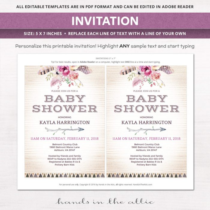 Image for Bohemian Theme Baby Shower Invitation Kit