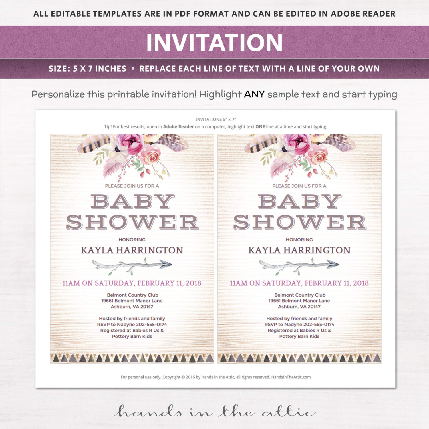boho baby shower invitation kit printable stationery weddings parties celebrations. Black Bedroom Furniture Sets. Home Design Ideas