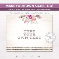 Image for Bohemian Theme | Printable Party Signs
