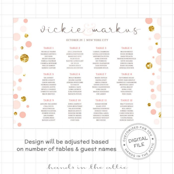 Image for Whimsical Pink & Gold Wedding Seating Chart