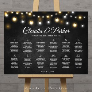 Image for Fairy Lights Chalkboard Wedding Seating Chart