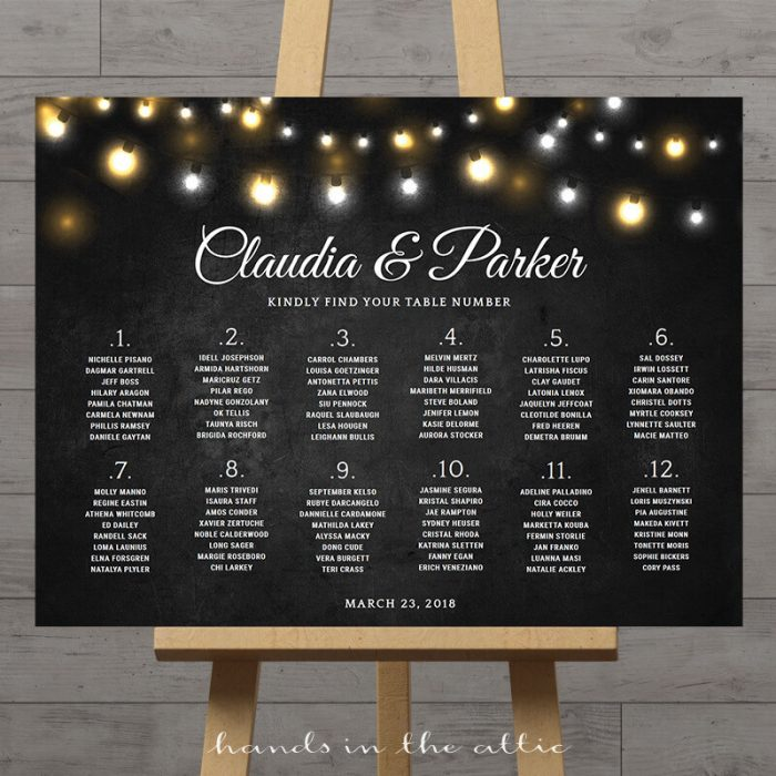 Fairy Lights Chalkboard Wedding Seating Chart