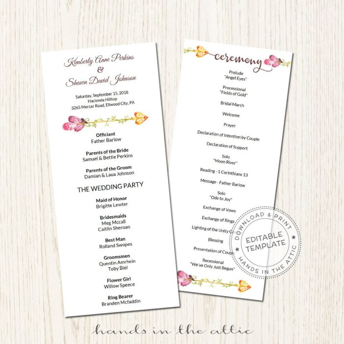 Image for Pink Arrow Wedding Program
