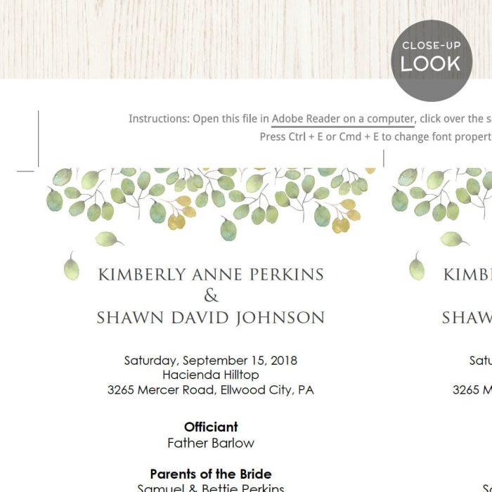 Image for Leaves Wedding Program