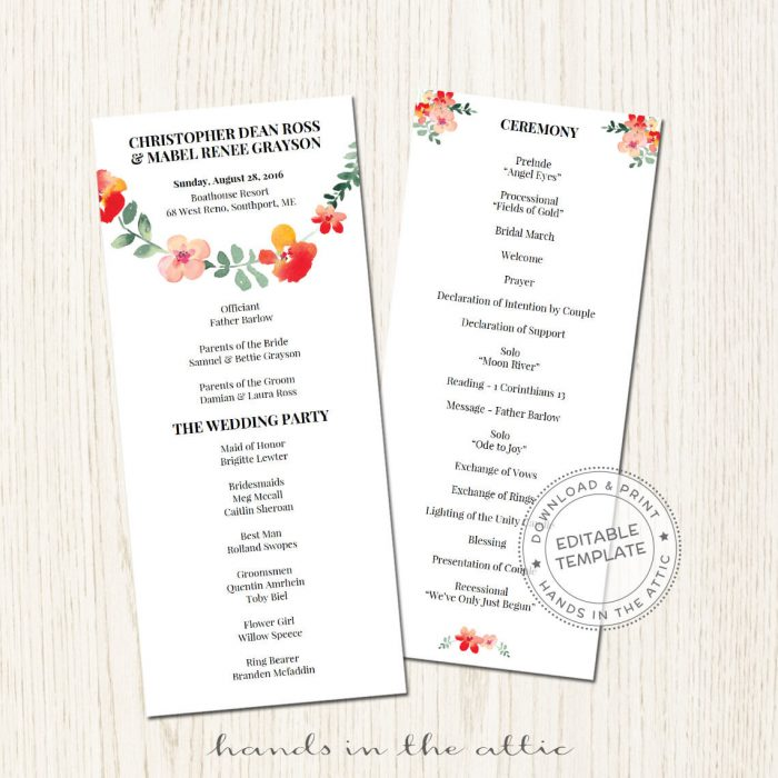 Image for Red Floral Wedding Program