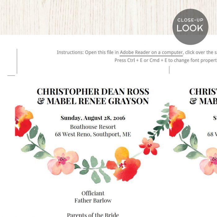 Image for Red Floral Wedding Program