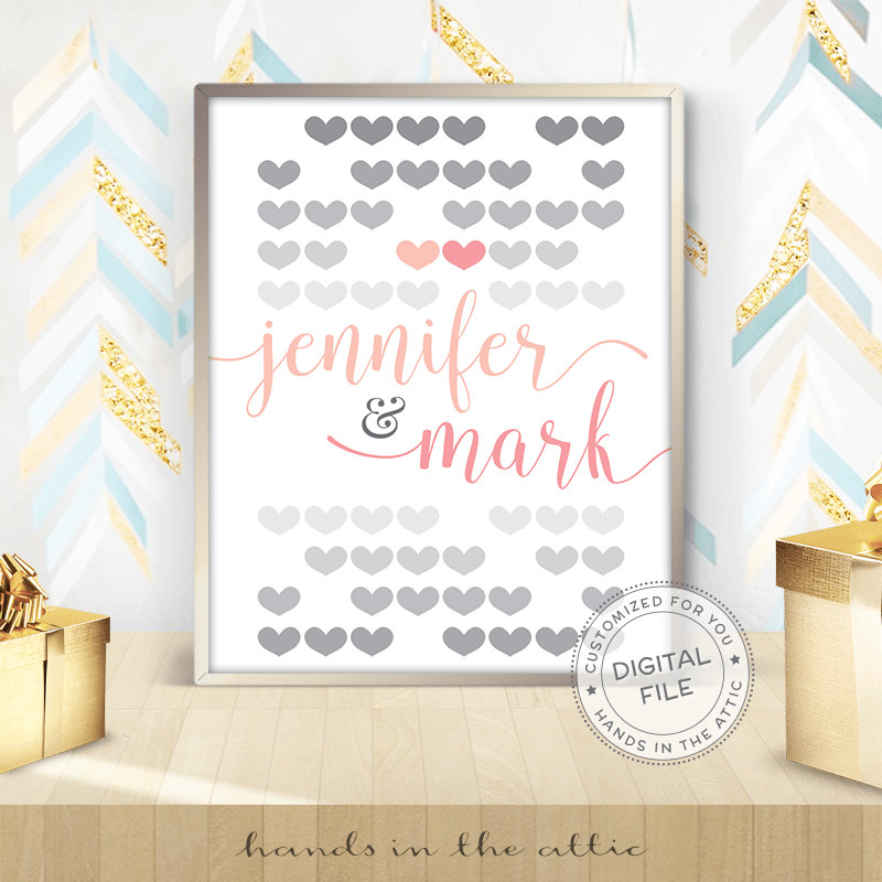 Hearts Wedding Sign Pink Amp Grey Hands In The Attic