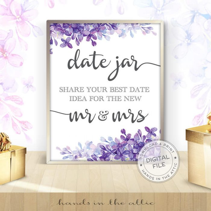 Image for Date Jar | Lilac Wedding Sign