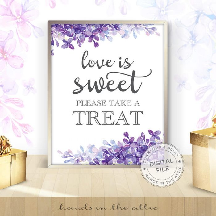 Image for Love Is Sweet Please Take A Treat | Lilac Bridal Shower Sign