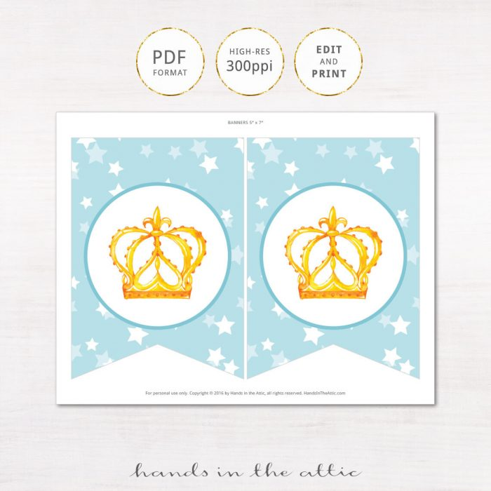 Image for Blue Baby Boy Prince Alphabet Party Banner