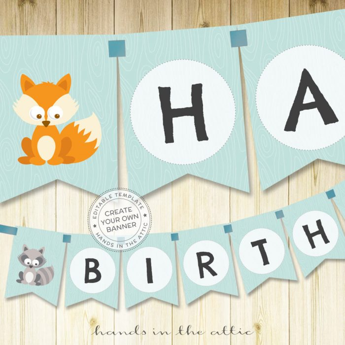 Image for Woodland Animals Word Banner