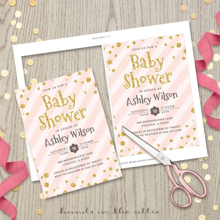 Image for Blush Pink with Confetti Baby Shower Invitation
