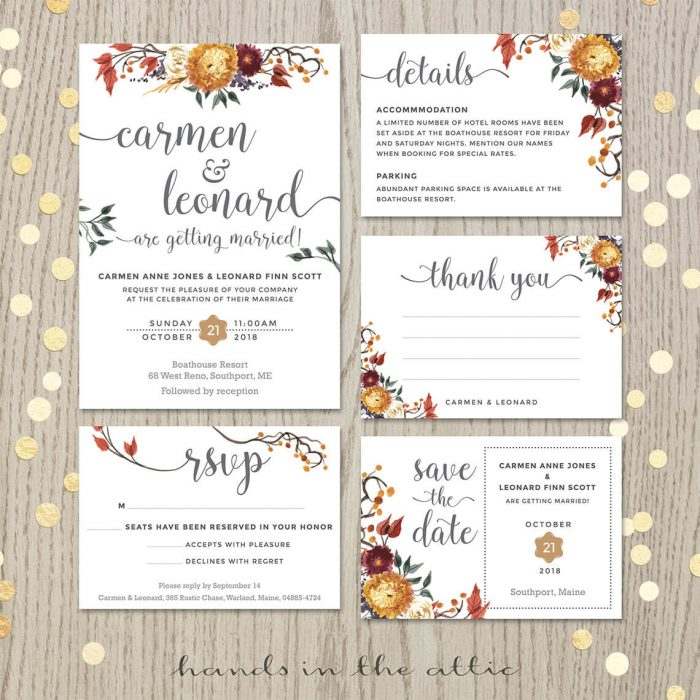 Fall Autumn Flowers Wedding Invitation