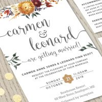 Close-up of Fall Autumn Flowers Wedding Invitation