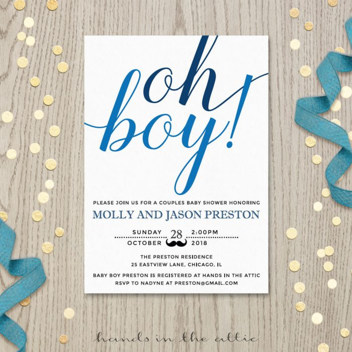 Image for Oh Boy! Baby Shower Invitation