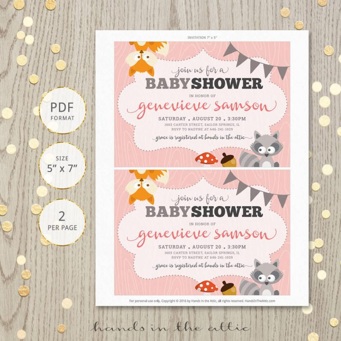 Image for Woodland Animals Baby Shower Invitation