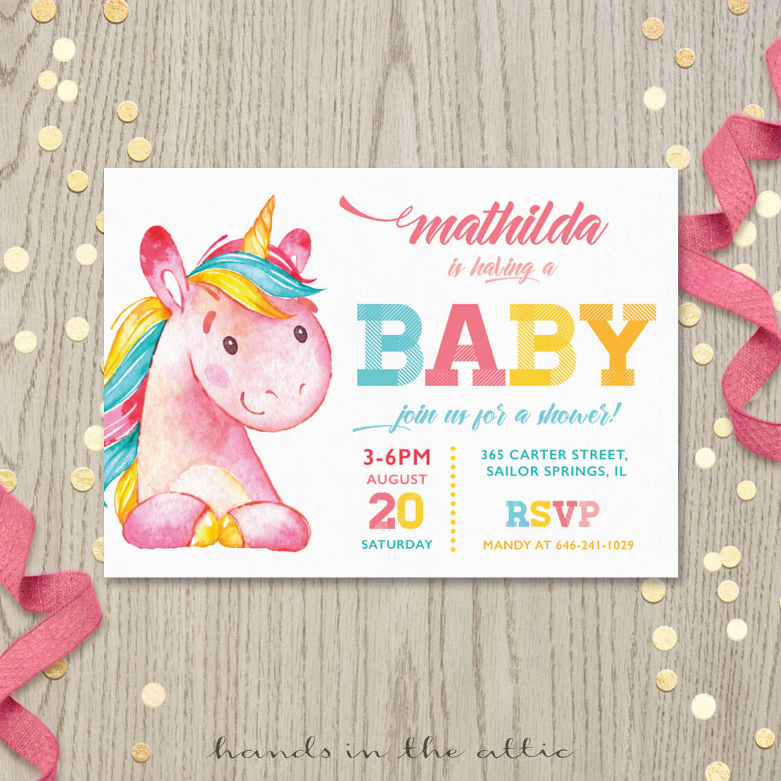 Pink Unicorn Baby Shower Invitation Printable Stationery