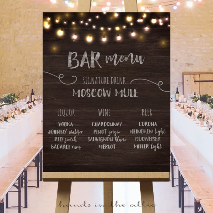 Bar Menu Wedding Sign