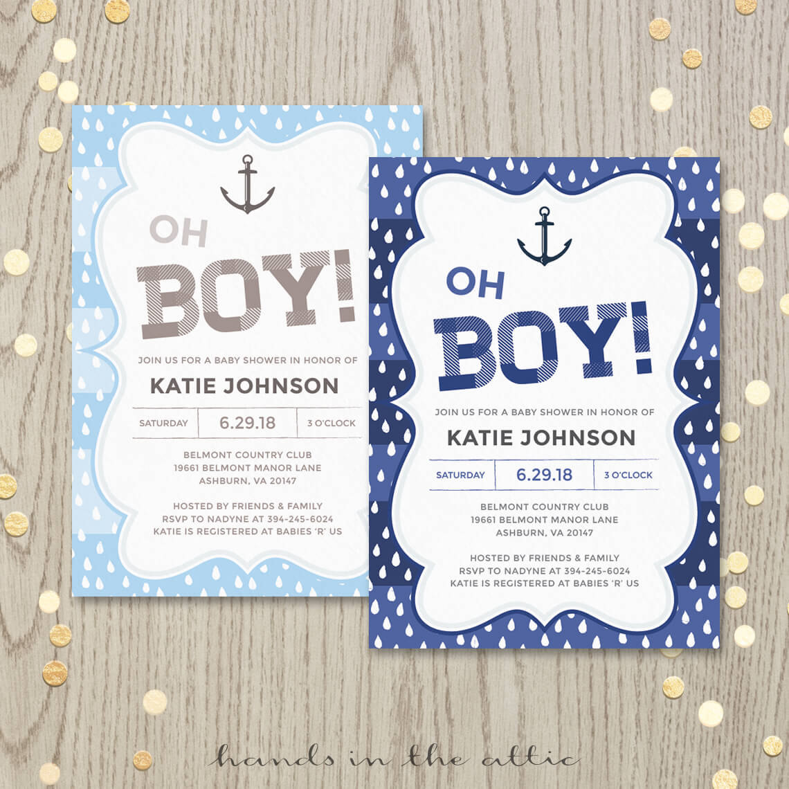 Nautical Baby Shower Invitation Hands