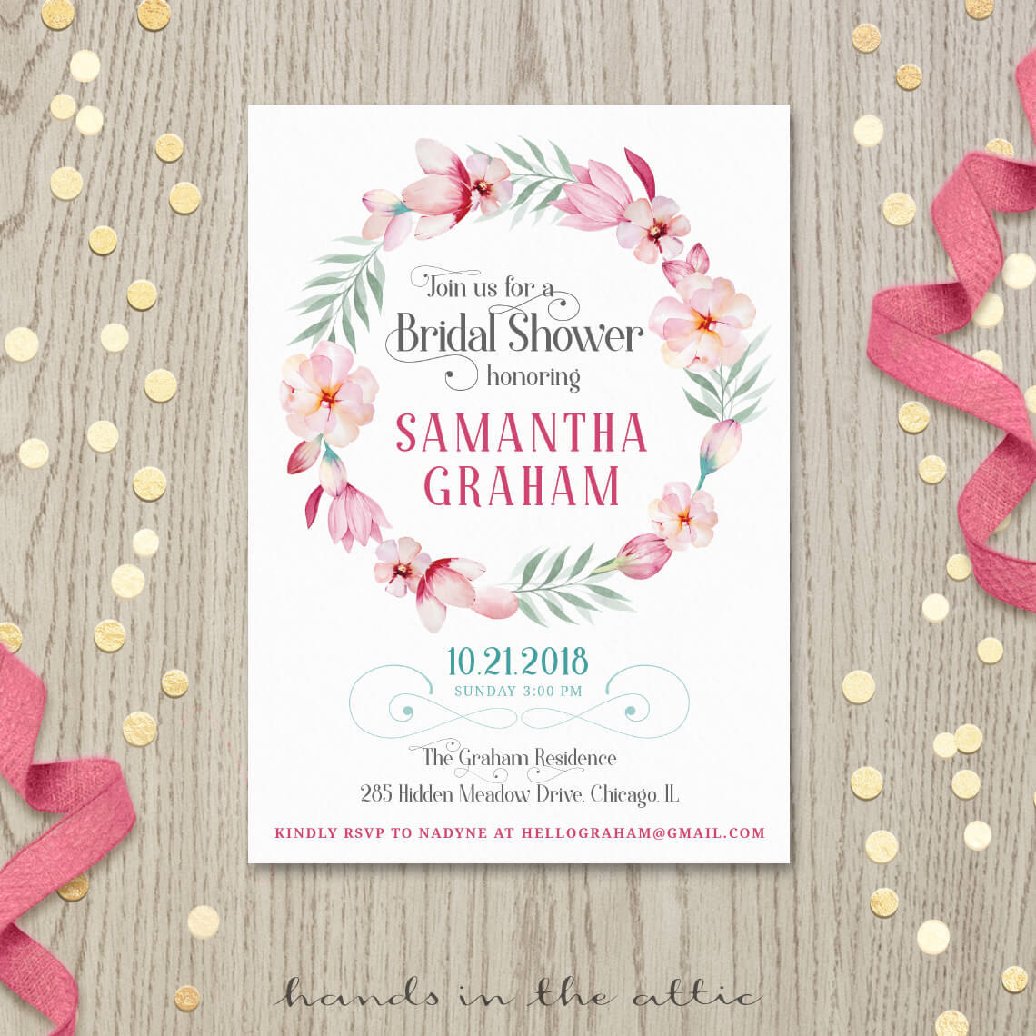 Pink floral bridal shower invitation printable stationery image for pink floral bridal shower invitation filmwisefo