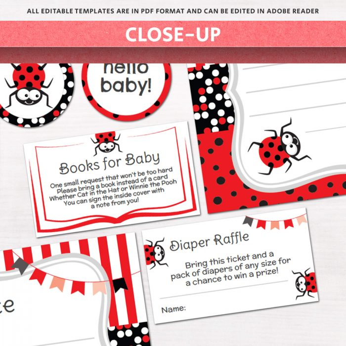 Image for Lady Bug Baby Shower Invitation Kit