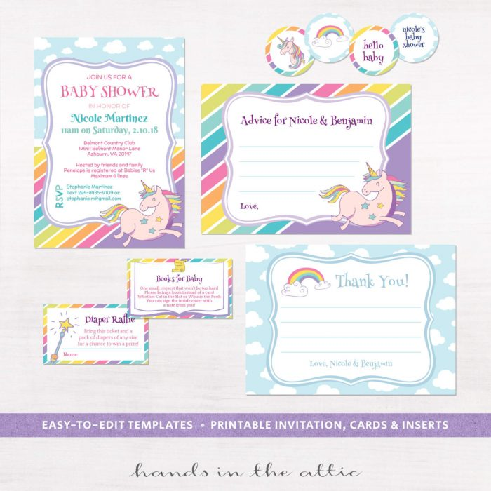 Image for Unicorn & Rainbows Baby Shower Invitation Kit