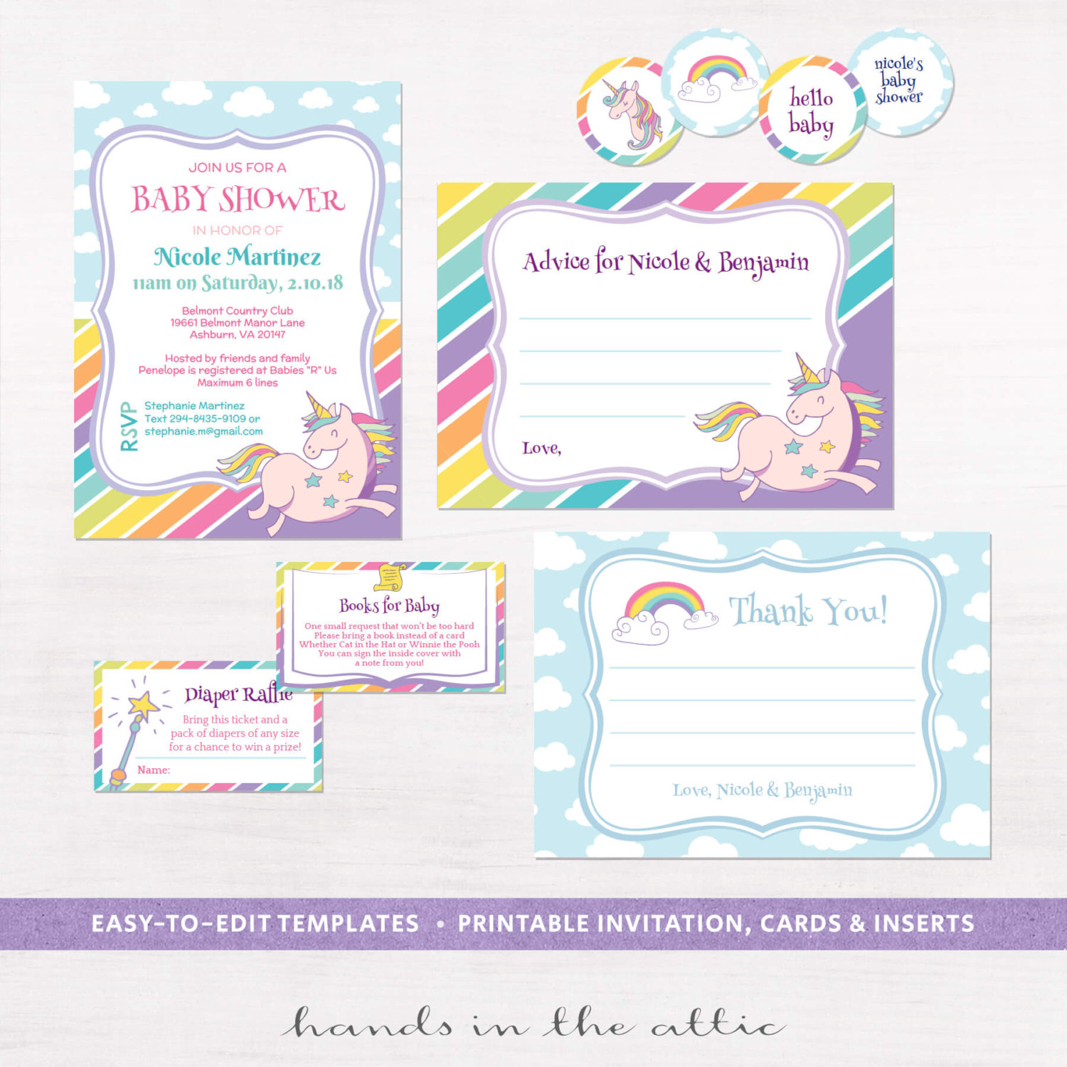 unicorn rainbows baby shower invitation kit hands in the attic. Black Bedroom Furniture Sets. Home Design Ideas